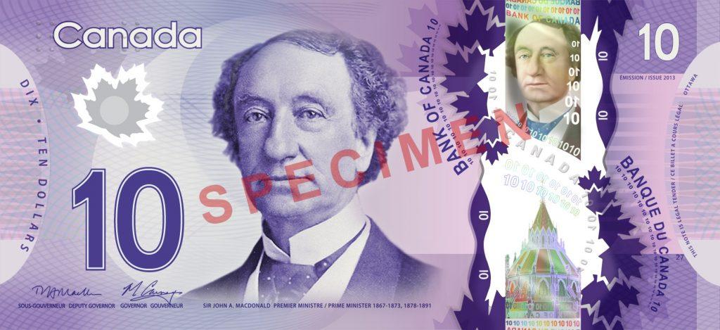 Banknoten in Kanada - 10 Dollar Vorderseite