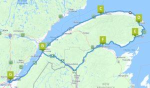 Ergaenzungsrouten Saguenay - St. Lorenz Strom - Gaspésie