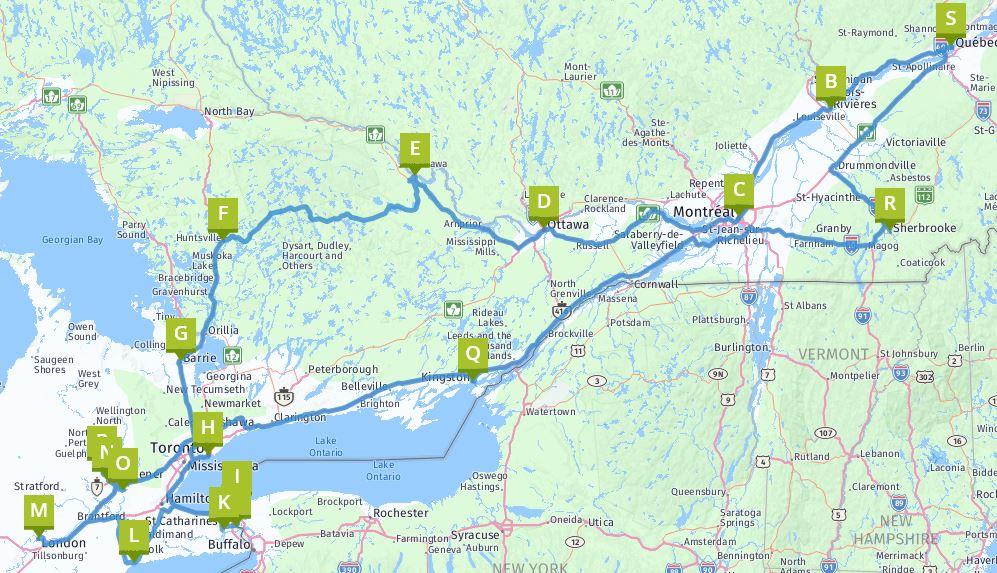 Routenplan Rundfahrt Quebec und Ontario